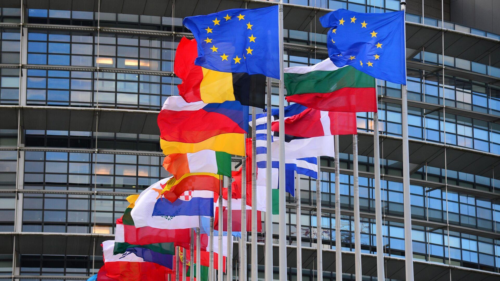 Флаги стран Евросоюза перед главным зданием Европейского парламента в Страсбурге - РИА Новости, 1920, 11.02.2021