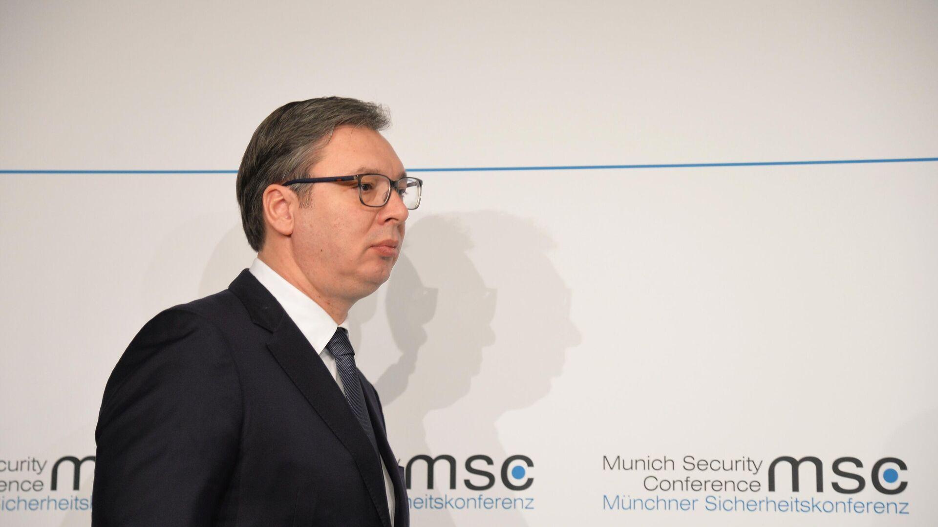 Президент Сербии Александр Вучич на Мюнхенской конференции по безопасности - РИА Новости, 1920, 06.02.2021