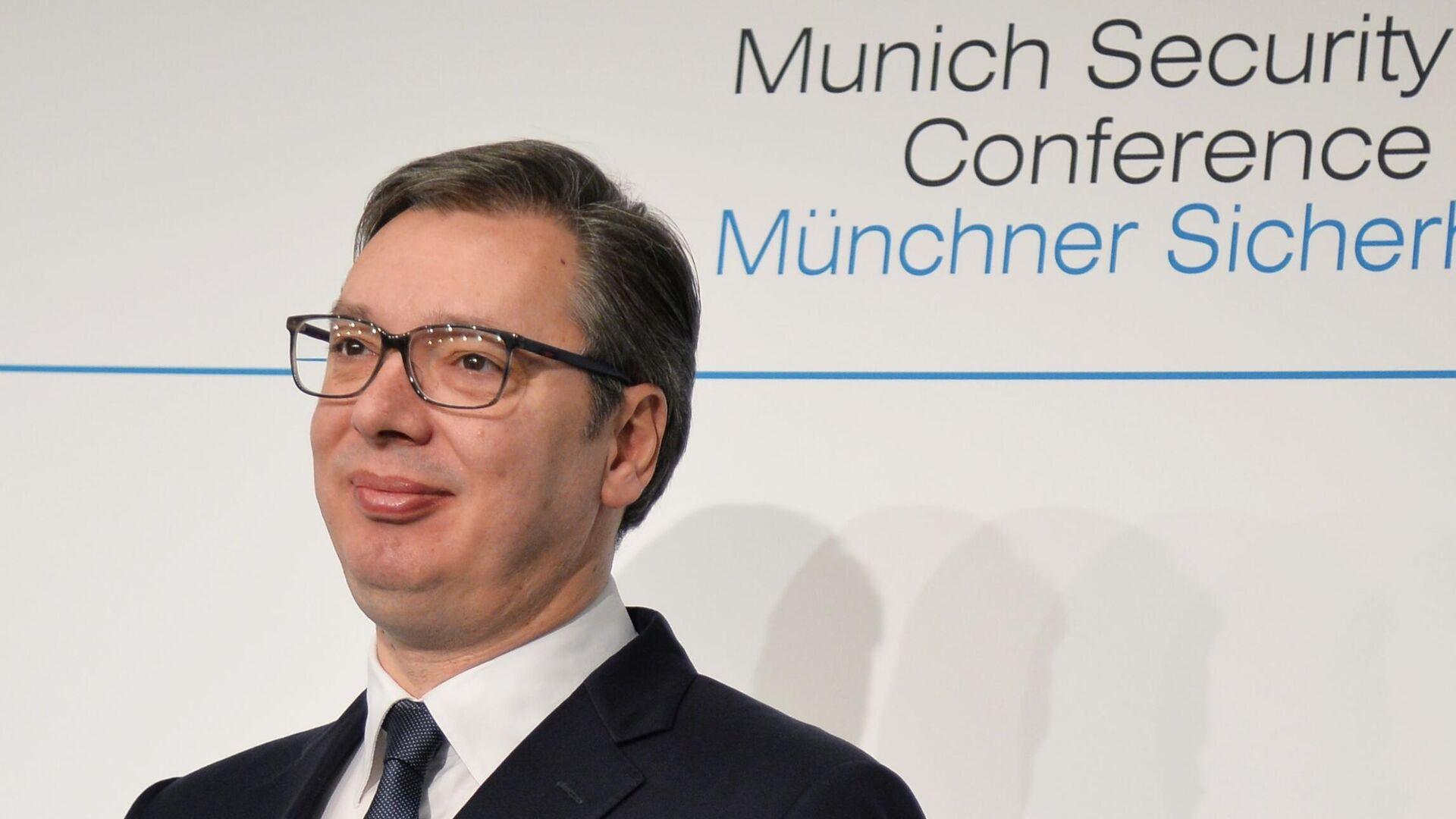 Президент Сербии Александр Вучич на Мюнхенской конференции по безопасности - РИА Новости, 1920, 16.01.2021