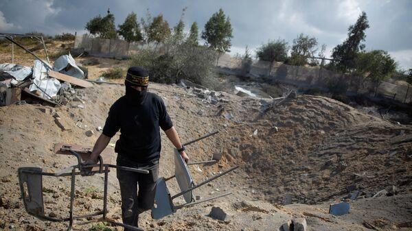 Ущерб, нанесенный израильскими авиаударами военной базе Исламский джихад в городе Хан-Юнис в южной части сектора Газа. 24 февраля 2020