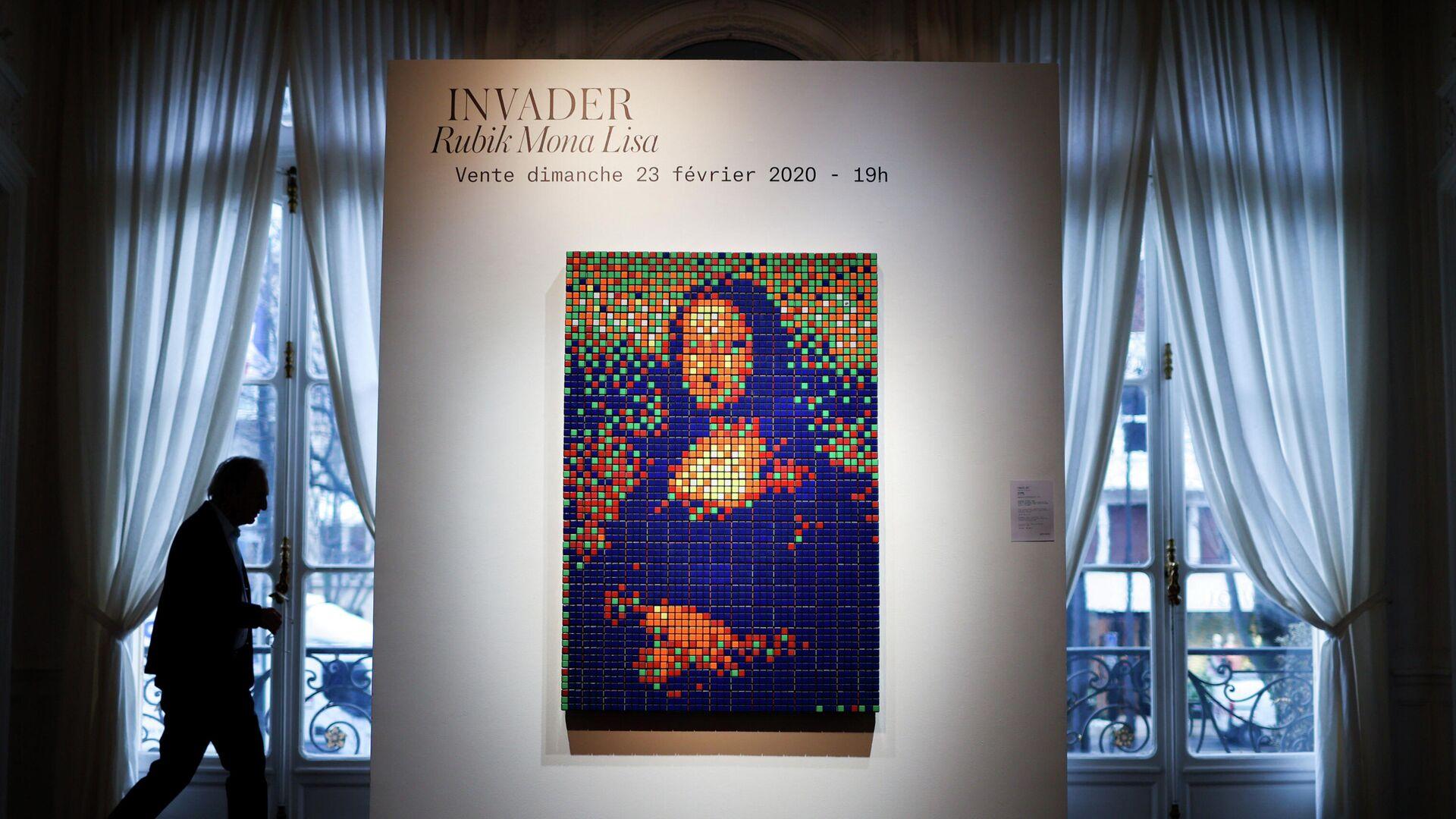 Мона Лиза из кубиков Рубика французского уличного художника под псевдонимом Invader - РИА Новости, 1920, 24.02.2020