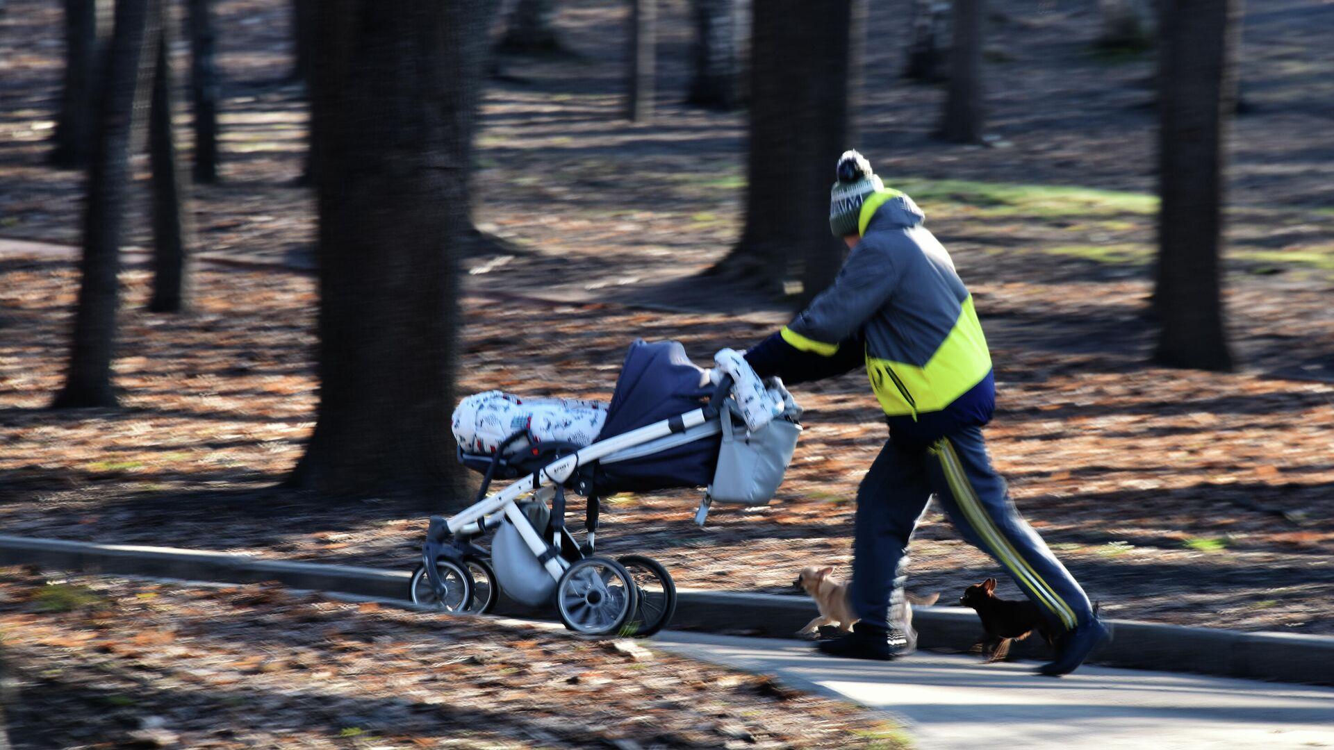 Мужчина с детской коляской гуляет по парку - РИА Новости, 1920, 14.11.2020