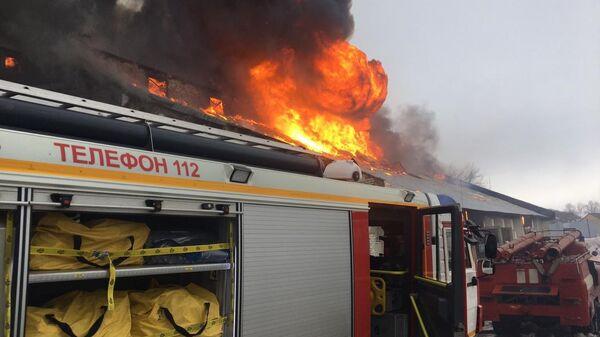 Пожар на складе для хранения зерна в Бирске