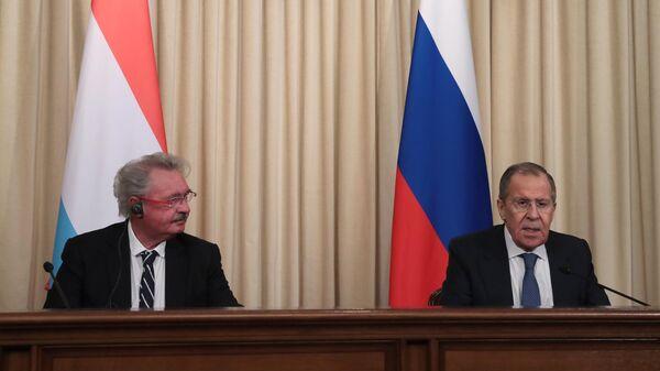 Министр иностранных дел РФ Сергей Лавров и министр иностранных и европейских дел Люксембурга Жан Ассельборн на пресс-конференции. 28 февраля 2020