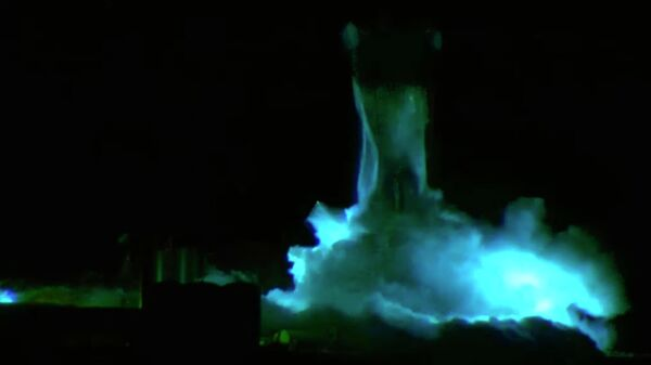 Прототип корабля Starship SN1 во время испытаний в Техасе, США. 28 февраля 2020