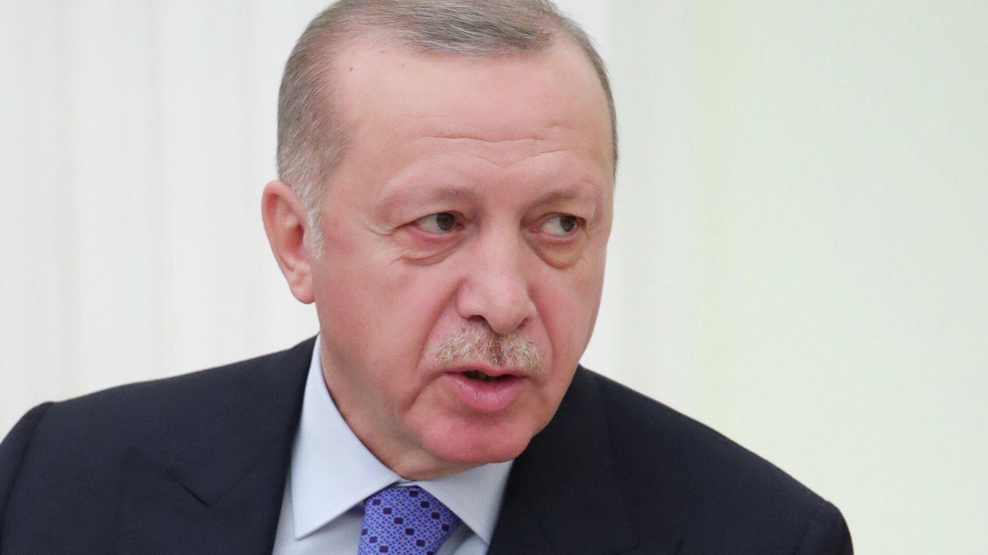 Президент Турции Реджеп Тайип Эрдоган во время встречи с президентом РФ Владимиром Путиным - РИА Новости, 1920, 07.09.2021