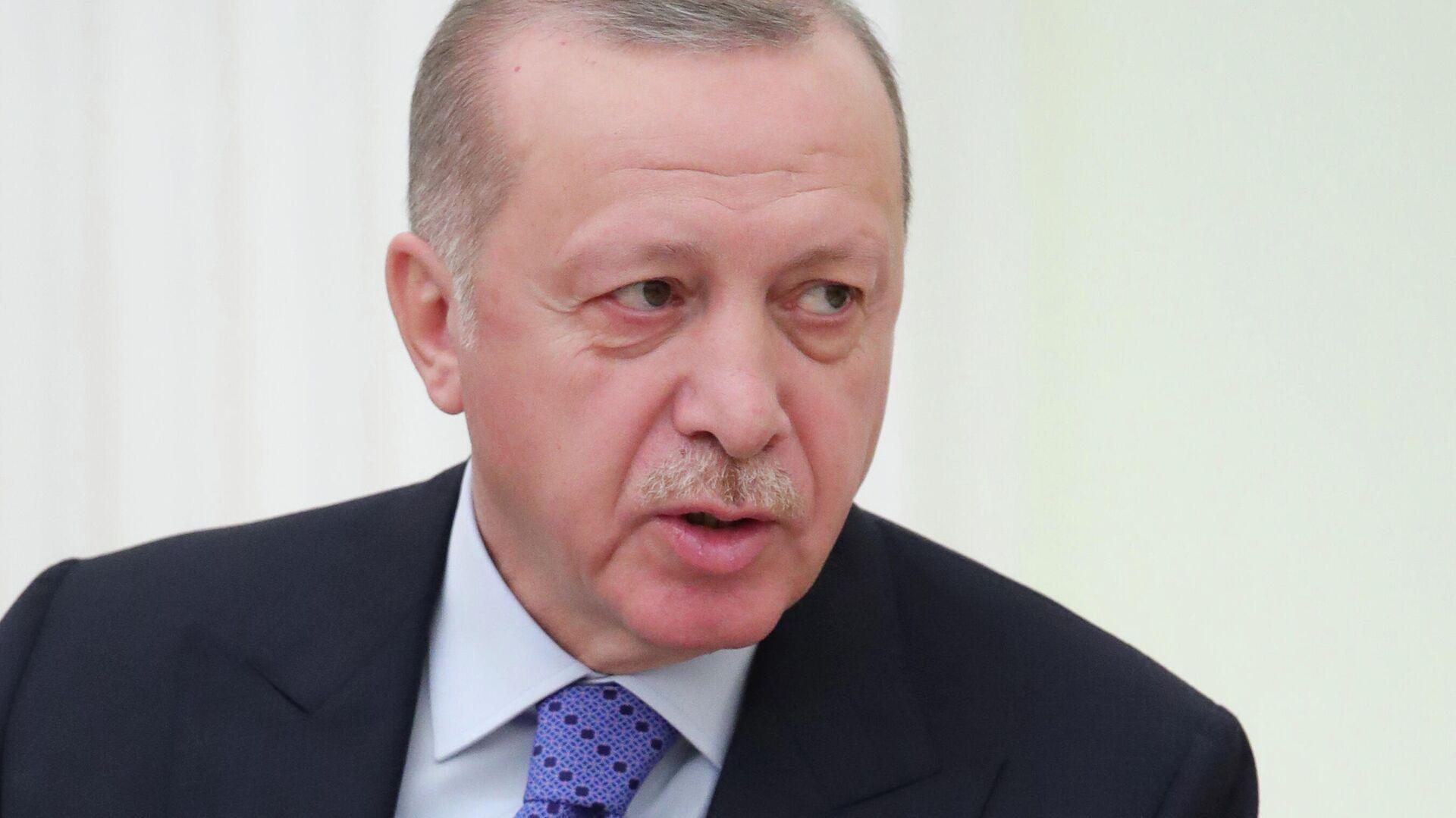 Президент Турции Реджеп Тайип Эрдоган во время встречи с президентом РФ Владимиром Путиным - РИА Новости, 1920, 28.09.2020