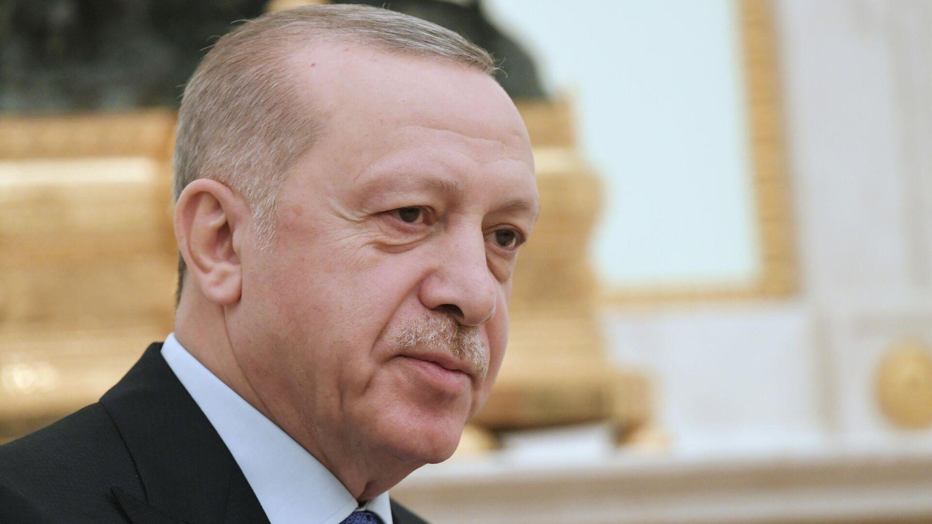 Президент Турции Реджеп Тайип Эрдоган во время встречи с президентом РФ Владимиром Путиным - РИА Новости, 1920, 23.10.2020
