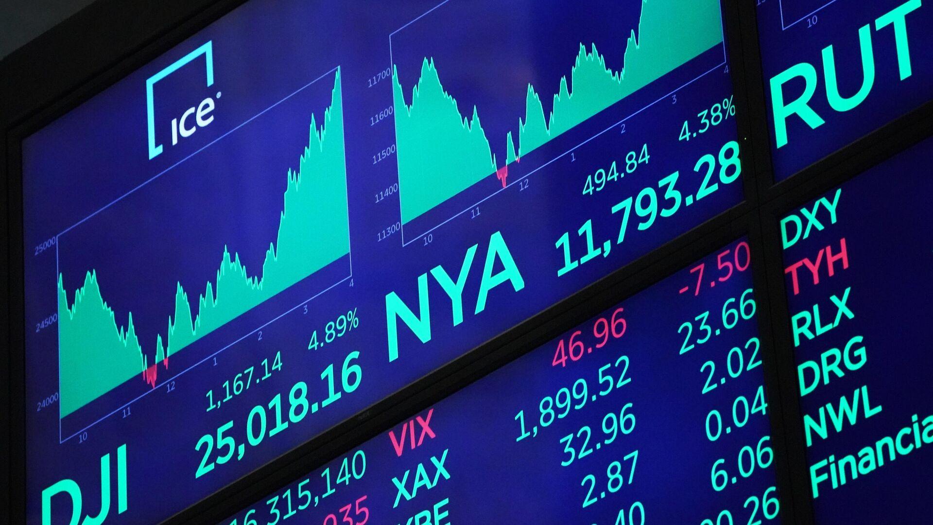 Табло с индексами котировок в зале Нью-Йоркской фондовой биржи - РИА Новости, 1920, 14.10.2021