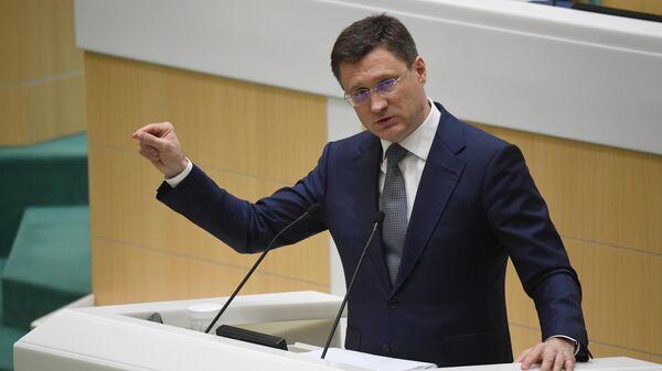 Министр энергетики РФ Александр Новак выступает на заседании Совета Федерации РФ