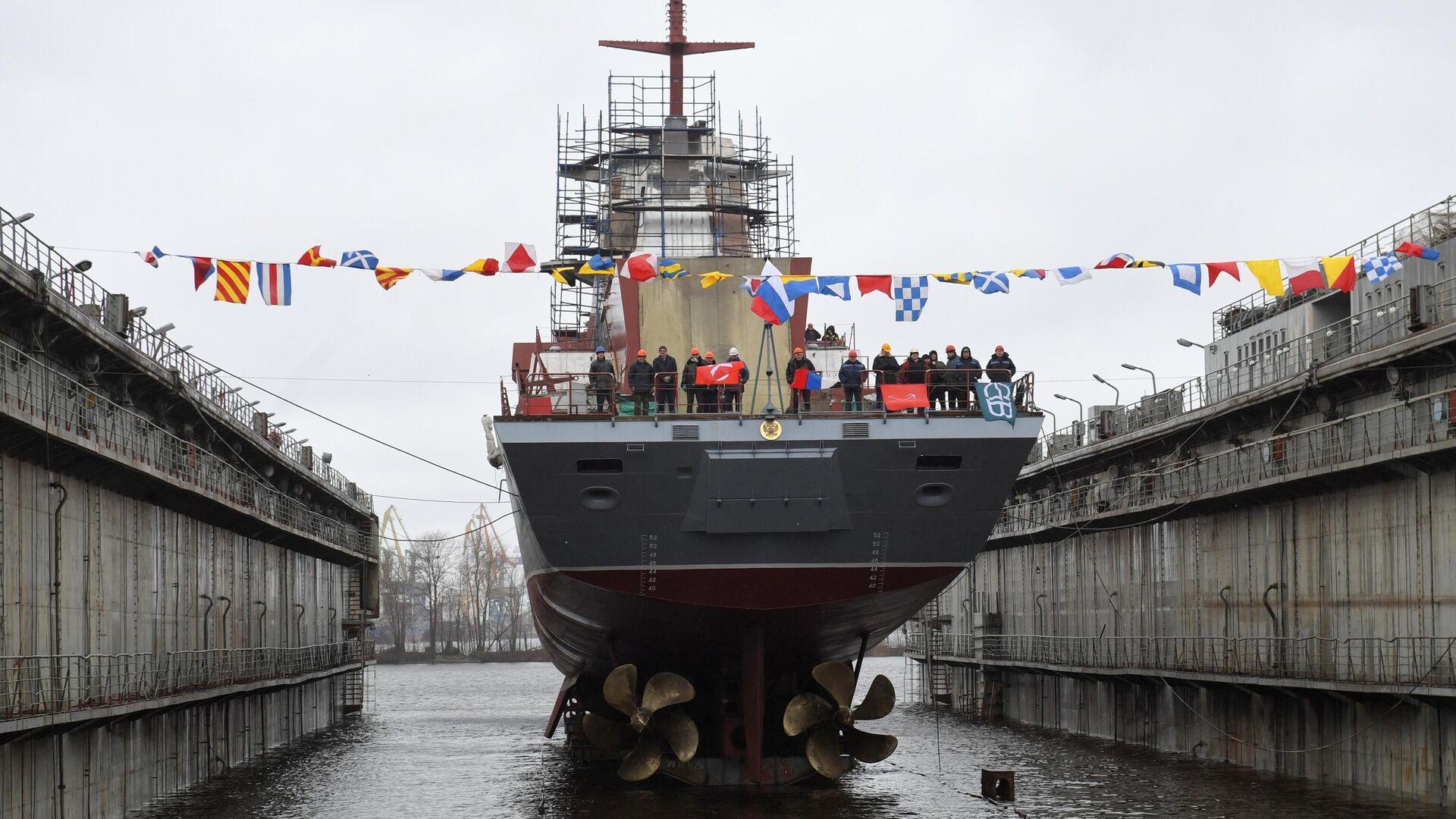 Церемония спуска на воду корвета Ретивый в Санкт-Петербурге - РИА Новости, 1920, 12.06.2020