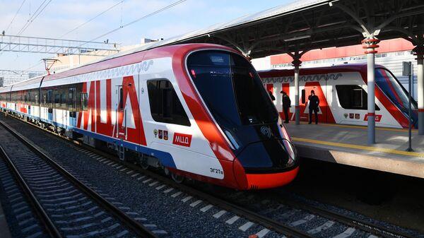 Поезда Московского центрального диаметра на станции Белорусская