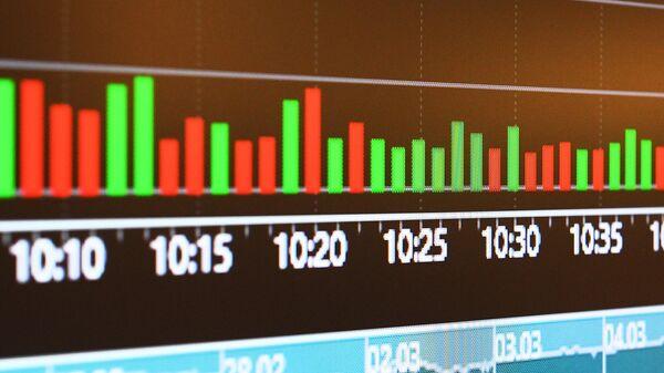 Монитор с данными котировок на Московской бирже