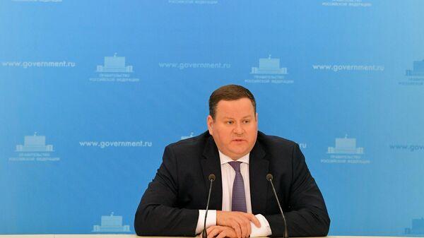 Министр труда и социальной защиты РФ Антон Котяков во время брифинга