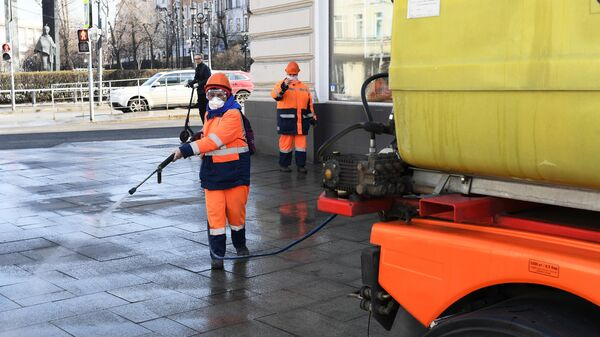 Дезинфекционная обработка московских улиц в рамках профилактики коронавируса