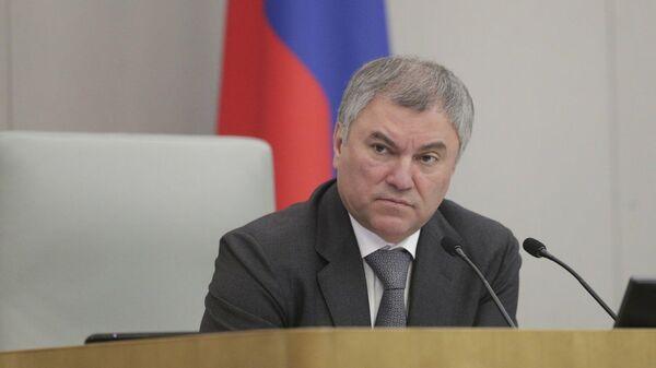 Председатель Государственной Думы РФ Вячеслав Володин на пленарном заседании Госдумы РФ