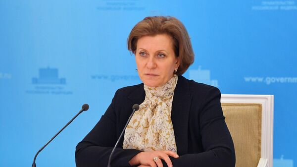 Руководитель Роспотребнадзора Анна Попова во время брифинга