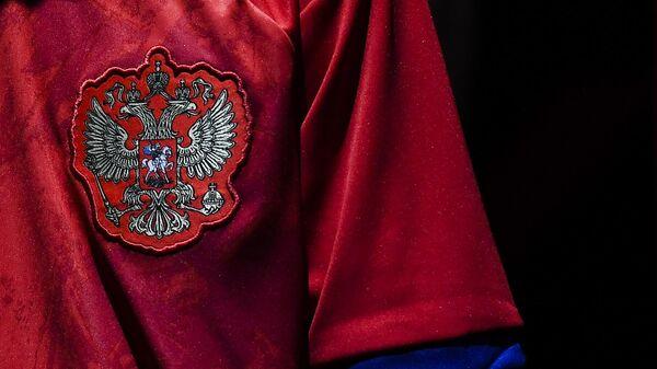 Национальный герб на игровой форме сборной России по футболу