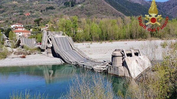 Рухнувший мост на границе регионов Лигурия и Тоскана в Италии