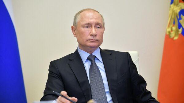 Президент РФ Владимир Путин проводит в режиме видеоконференции совещание по санитарно-эпидемиологической ситуации в России