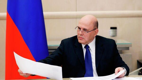 Председатель правительства РФ Михаил Мишустин во время совещания президент РФ Владимира Путина по экономическим вопросам