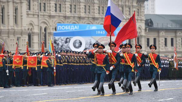 Знаменная группа на военном параде на Красной площади