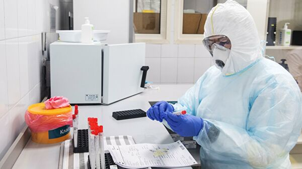Сотрудник лаборатории проводит тесты на коронавирус