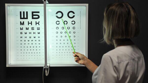 Таблица Сивцева для проверки остроты зрения в кабинете офтальмолога