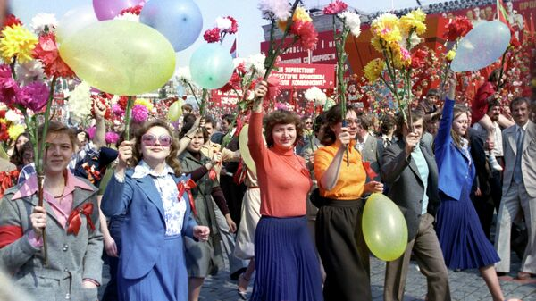 Первомайская демонстрация трудящихся на Красной площади