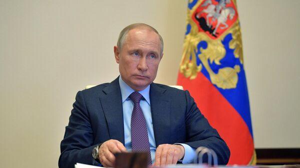 Президент РФ Владимир Путин проводит в режиме видеоконференции совещание о мерах по поддержке российской экономики