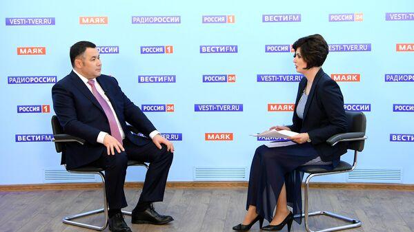 Губернатор Тверской области Игорь Руденя выступает в прямом эфире телеканала Россия 24