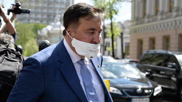 Михаил Саакашвили после встречи с депутатами фракции Слуга народа в Киеве