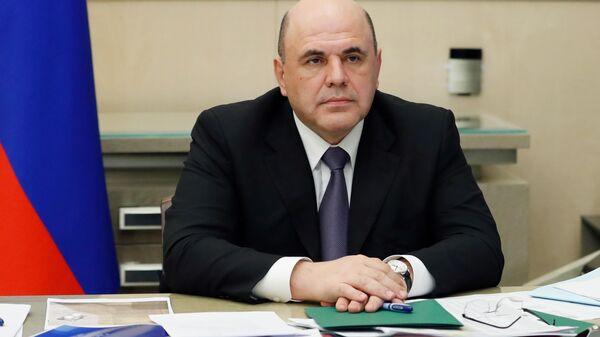 Председатель правительства РФ Михаил Мишустин принимает участие в совещании президента РФ Владимира Путин в режиме видеоконференции