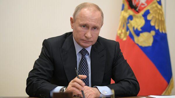 Президент РФ Владимир Путин проводит в режиме видеоконференции совещание вопросам развития топливно-энергетического комплекса. 29 апреля 2020