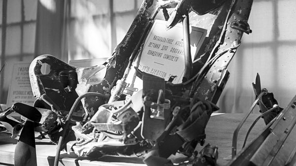 Катапультируемое кресло сбитого самолета U2, пилотируемого американским летчиком Френсисом Генри Пауэрсом, выставленное в ЦПКО имени Горького