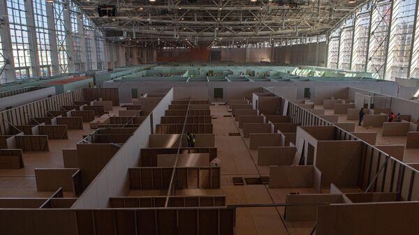 Строительство временного госпиталя в павильоне 75 на ВДНХ
