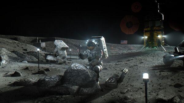 Астронавты космической программы Артемида на Луне в представлении художника