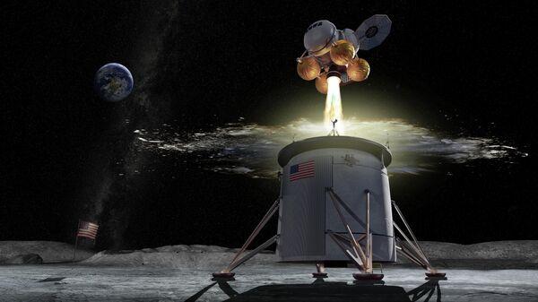 Спускаемый аппарат космической программы Артемида на Луне в представлении художника