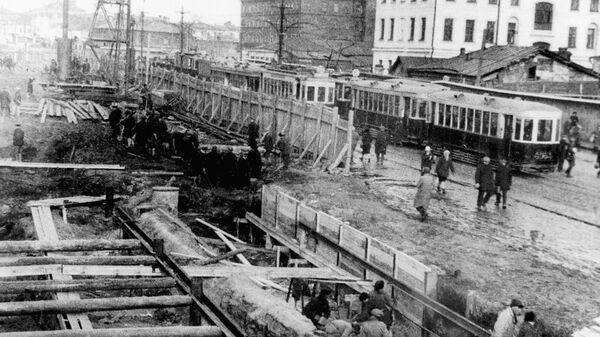 Открытое строительство шахты метрополитена в Москве