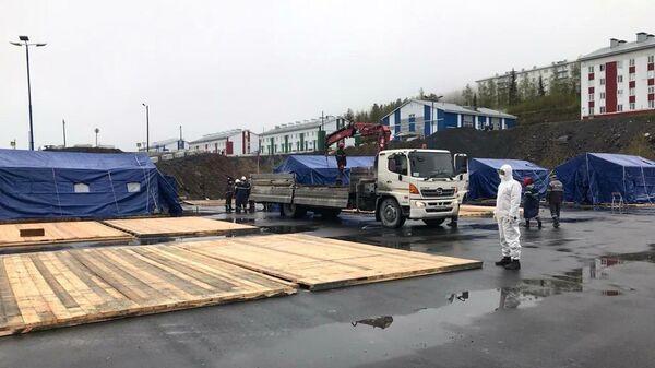 Строительство полевого лагеря на территории вахтового поселка Олимпиадинского ГОКа