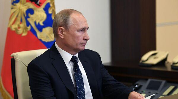 Президент РФ Владимир Путин принимает участие в заседани ВЕЭС в режиме видеоконференции