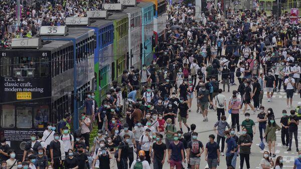 Участники акции протеста в Гонконге. 24 мая 2020