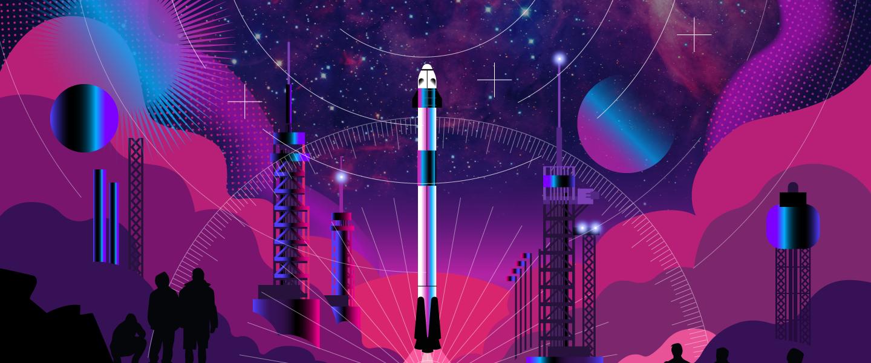 Ракета-носитель с аппаратом Crew Dragon