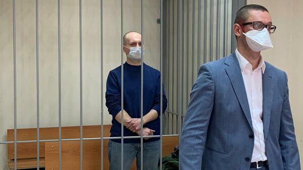 Адвокат Сергей Щербаков, обвиняемый в мошенничестве на 250 млн рублей, во время избрания меры пресечения в Пресненском суде Москвы
