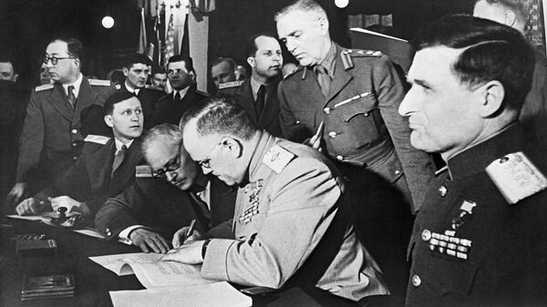 Подписание Декларации о поражении Германии. 5 июня 1945 года