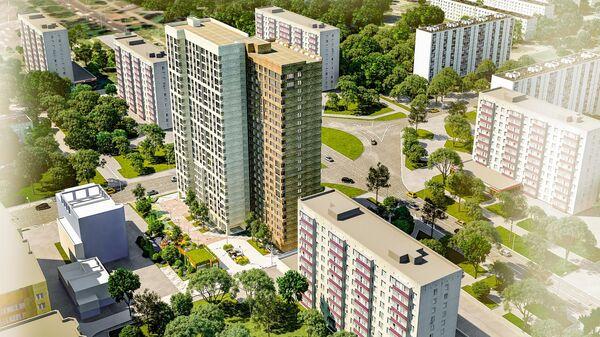Проект дома по программе реновации на площади Белы Куна в Гольянове