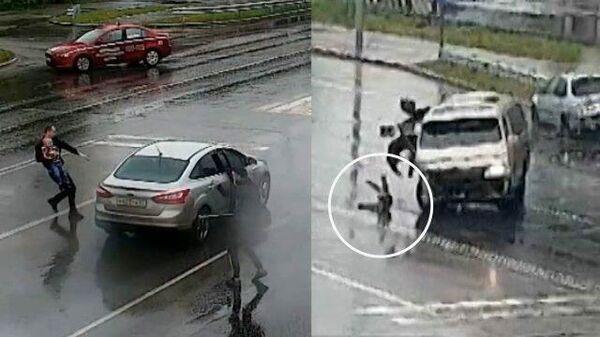 Молниеносная реакция: как очевидец ДТП спас выпавшего из машины ребенка