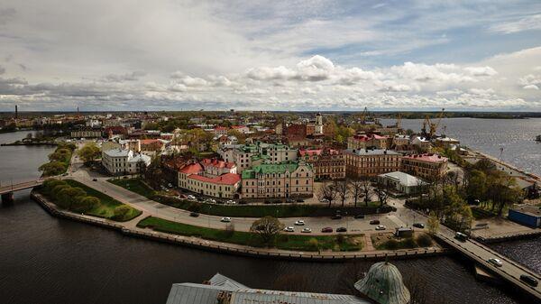 Вид на Выборг с башни святого Олафа Выборгского замка