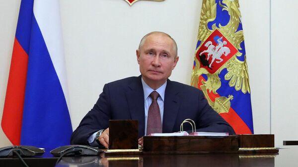 Президент РФ Владимир Путин во время встречи в режиме видеоконференции с участниками общероссийской акции взаимопомощи Мы вместе