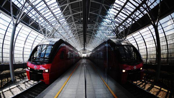 Поезд прибывает на станцию Славянский бульвар линии МЦД-1